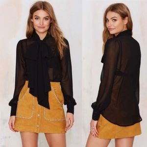 Nasty Gal Marianne Sheer Bow Blouse